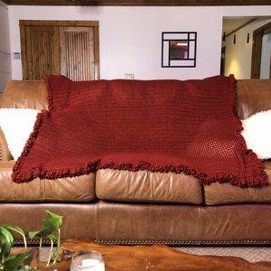 Handmade Maroon Fringe Throw Blanket Sz 72x60
